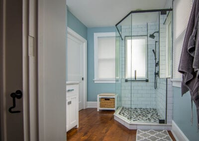 Calm Blue with Bathroom shower tray Patten and Wooden Flooring Modeling
