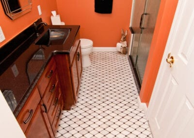 Parallel Patterned Flooring with Contrast Walls Bathroom Modeling