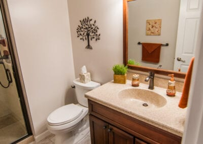 Maple Natural wooden plates and Maple sink to create best bathroom modeling