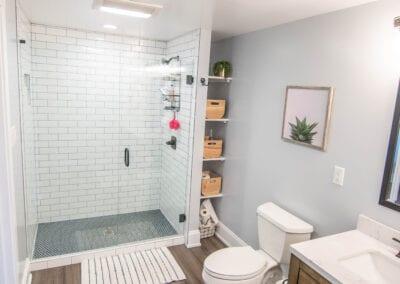 Walnut Flooring and Glass Type Bathroom Modeling